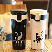 Stainless Steel Cat Pattern Travel Mug