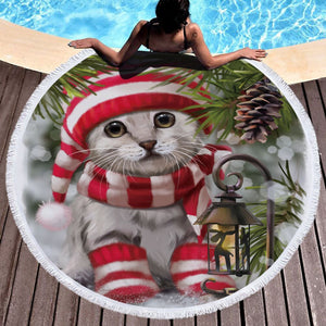 Christmas Cat Dog Round Beach Towel Blanket