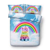 Rainbow Kitten Duvet Cover Bedding Set