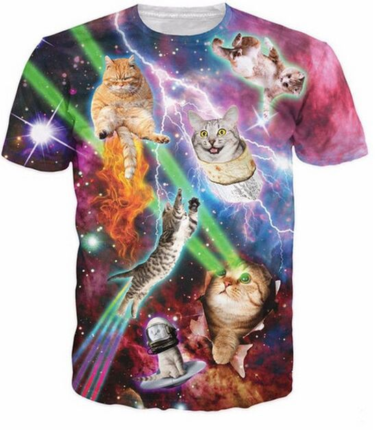 Cool Cat 3D Printed Galaxy T-shirts