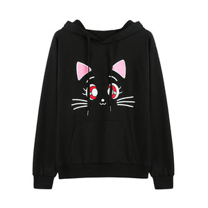 Black Cat Fashion Women's Graphic Print Hoodie