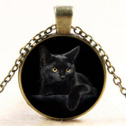 Cute Black Cat Glass Dome Pendant Necklace