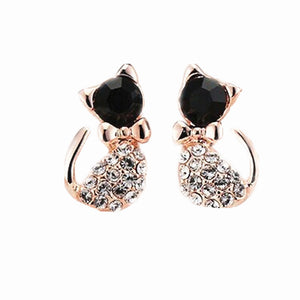 Lovely Rhinestone Cat Stud Earrings