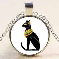 Egyptian Cat Glass Dome Pendant Necklace