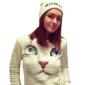 Women's Winter White Cat Pullover Hoodie