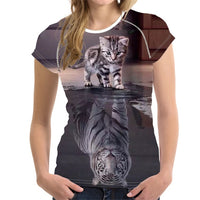 Small Cat Big Lion Reflection T Shirt