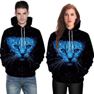 Blue Space Cat 3D Hoodie
