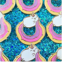 Fashion Glitter Rainbow Kitty Pins