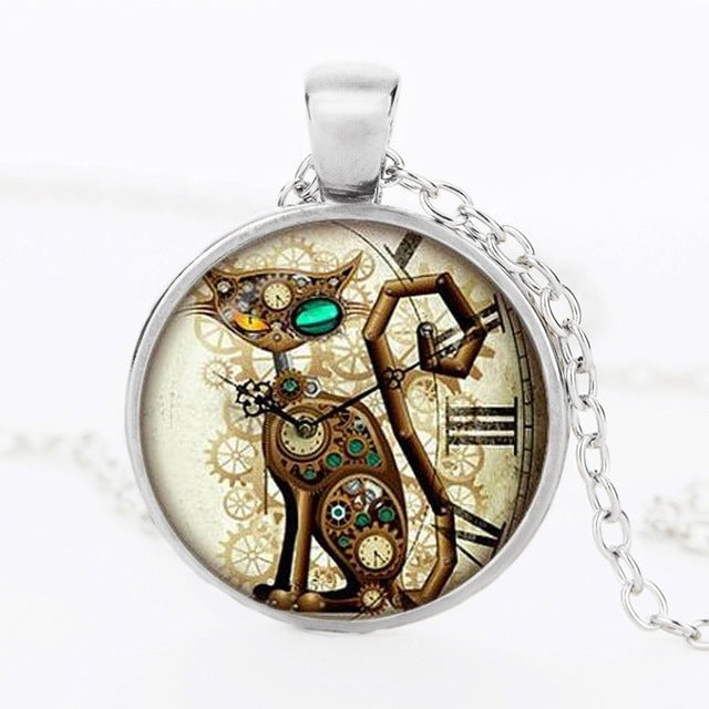 Fashion punk cat glass pendant necklaces