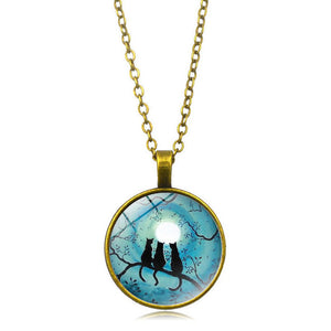 Galaxy Blue Moon Glowing Cat Necklace