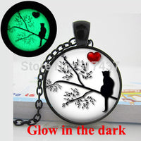 Glow In The Dark Cat Silhouette in Tree Heart Necklace
