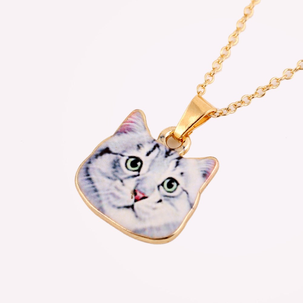 Gold Color Cute White Cat Necklaces for Women