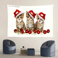 Merry Bengal Christmas Cat Tapestry