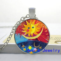 Round Glass Colorful Cats Necklace