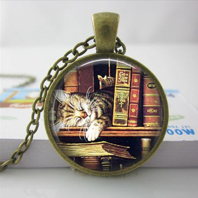 Cat Bookworm Snooze Charm Necklace