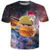 Christmas Cat Sloppy Joe Burger T Shirt