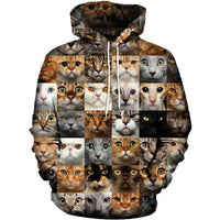 Checkered Multi Cuteness Cat 3D Hoodie