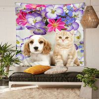 Cute Cat And Dog Flowers Tapestry