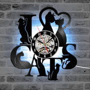 Limited Edition I Love Cats Record LED Wall Clock