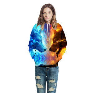 Fire And Ice Wolf 3-D Hoodies