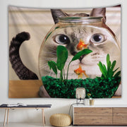 Funny Cat Fishbowl Tapestry