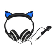 Flashing Glowing LED Light Cat Ear Headphones Gaming Headset