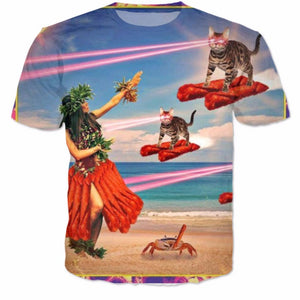 Laser Cat On Beach T Shirt