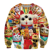 Lucky Cats 3-D All Over Print  Sweatshirt