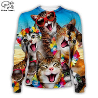 Men 3D Funny cute Cat Print Hoodie women cartoon animal Sweatshirt Harajuku zipper coat unisex pullover Hawaii beach