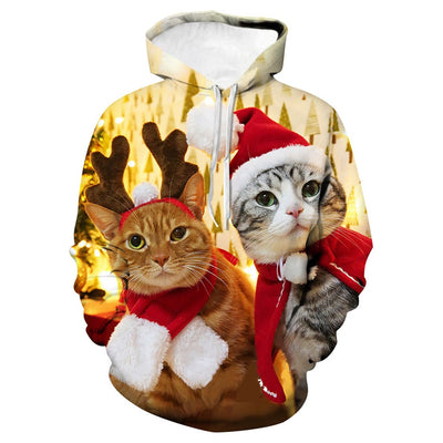 Funny Collectible Holiday 3-D Cat Hoodie