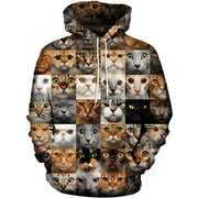 3-D Checkered Cat Hoodie