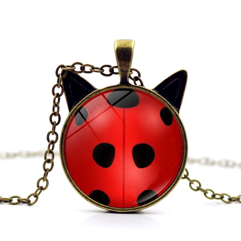 Lucky Ladybug Cat Ears Pendant Necklace