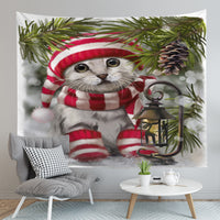 Merry Christmas Cat Wall Tapestry