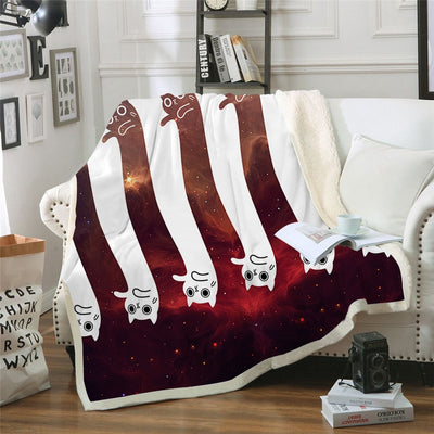 Red And White Space Cat Couch Quilt