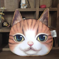 Cat Face Printed Zipper Coin Purses