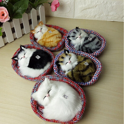 Simulation Sounding Sleeping Cats Plush Toy