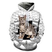 Funny Cat In The Wall 3-D Hoodies!