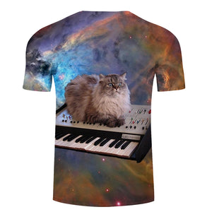 Piano Cat Printed T Shirts
