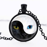 Black And White Swirl Ying Yang Cat Necklace