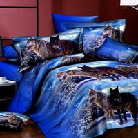 Snow Wolf Tiger Cats 3D Bedding Set