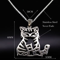 Stainless Steel Tiny Cat Pendant Necklace