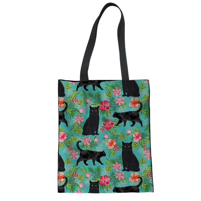 Black Cat Printed Shopping Bags For Women