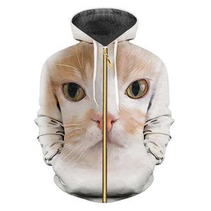 Domestic Cute Cat Zipper Hoodie