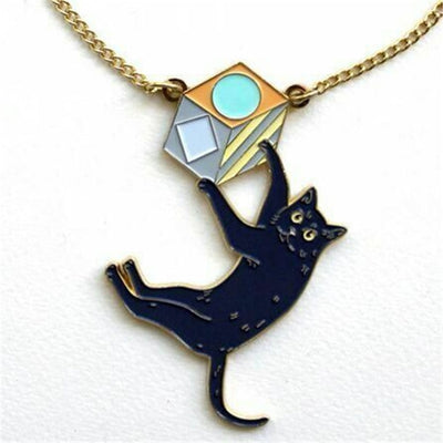 Cute Black Cat On Cube Necklace