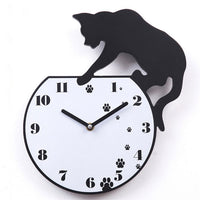 Unique Cat Mirror Silver Wall Clock