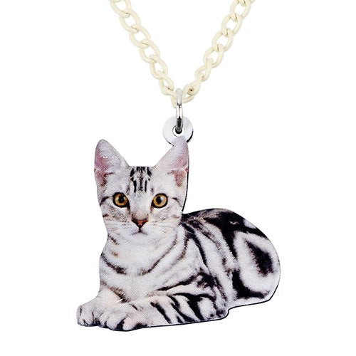 Acrylic Bengal Cartoon Cat Necklace Pendant