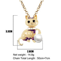 Enamel Alloy Pearl Elegant Cat Necklace Chain
