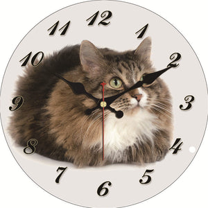 Fluffy Cute Cat Clock