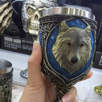 Stainless Steel 3-D Wolf Mug