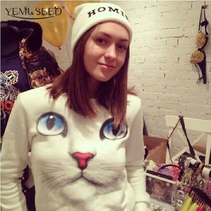 White Cat Pullover Hoodie For Women